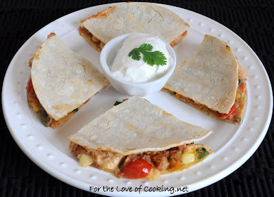 Southwestern Chicken, Bean, and Sharp Cheddar Quesadilla