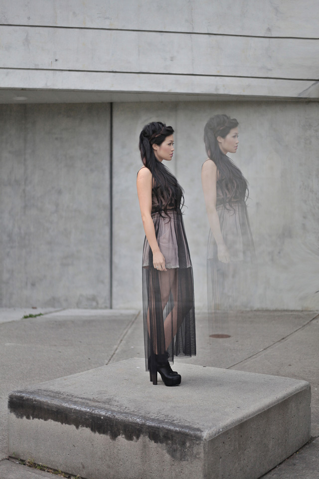 Jasmine Zhu Vancouver Fashion blogger for Posing in Vintage, wearing black maxi sheer dress