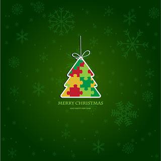 パズルで作ったクリスマス・ツリーのラベル beautiful christmas label イラスト素材