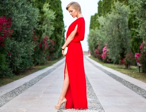 Long Red Dress With Shoes