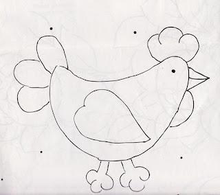 molde de galinha 3 para patchwork