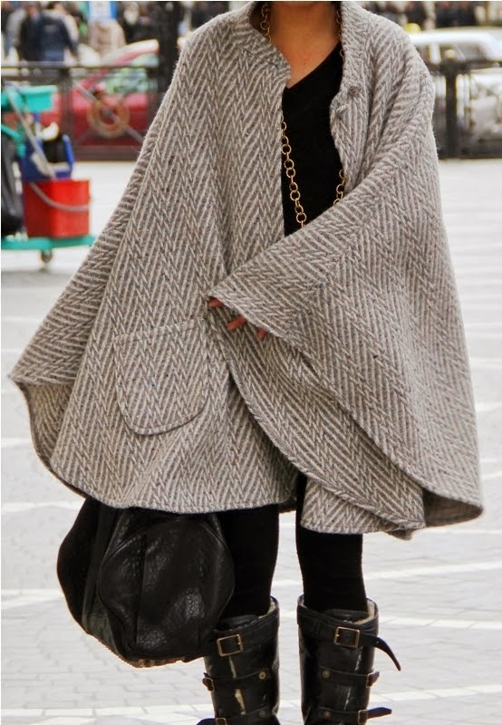 Long Amazing  Cape Without Sleeves, Handbag, Black Long Boots