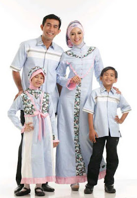 Model Baju Lebaran keluarga Biru Muda 2016