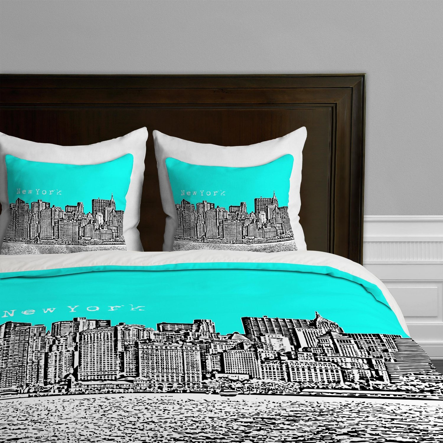 Bedding sets turquoise - Bird Ave New York City Skyline Themed Bedding Twin Queen King