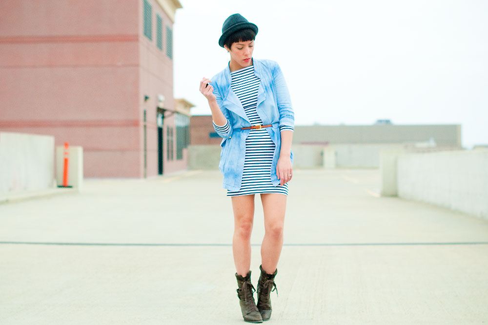 Minneapolis fashion blog by Shannon Licari Walling. Acid wash denim jacket from Romwe.com and Topshop striped bodycon dress.