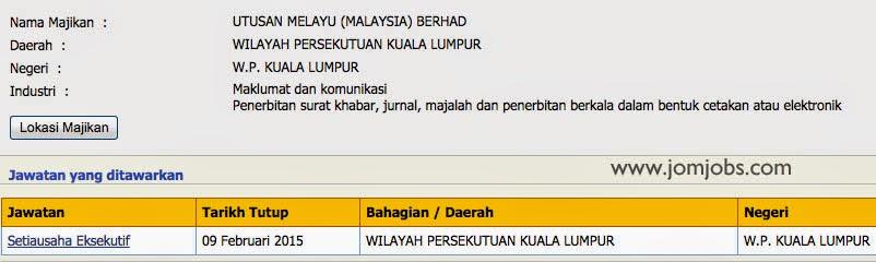 iklan jawatan Utusan Melayu Malaysia Berhad