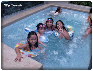Kids in the mini pool with Jacuzzi