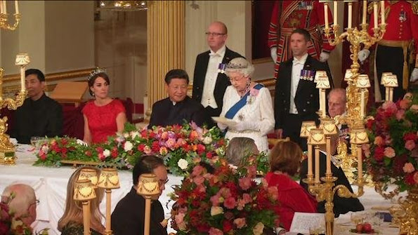 a state banquet is being held at Buckingham Palace and attended by Catherine, the Duchess of Cambridge