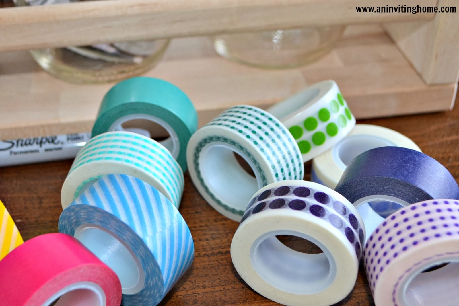 using washi tape to make money jars