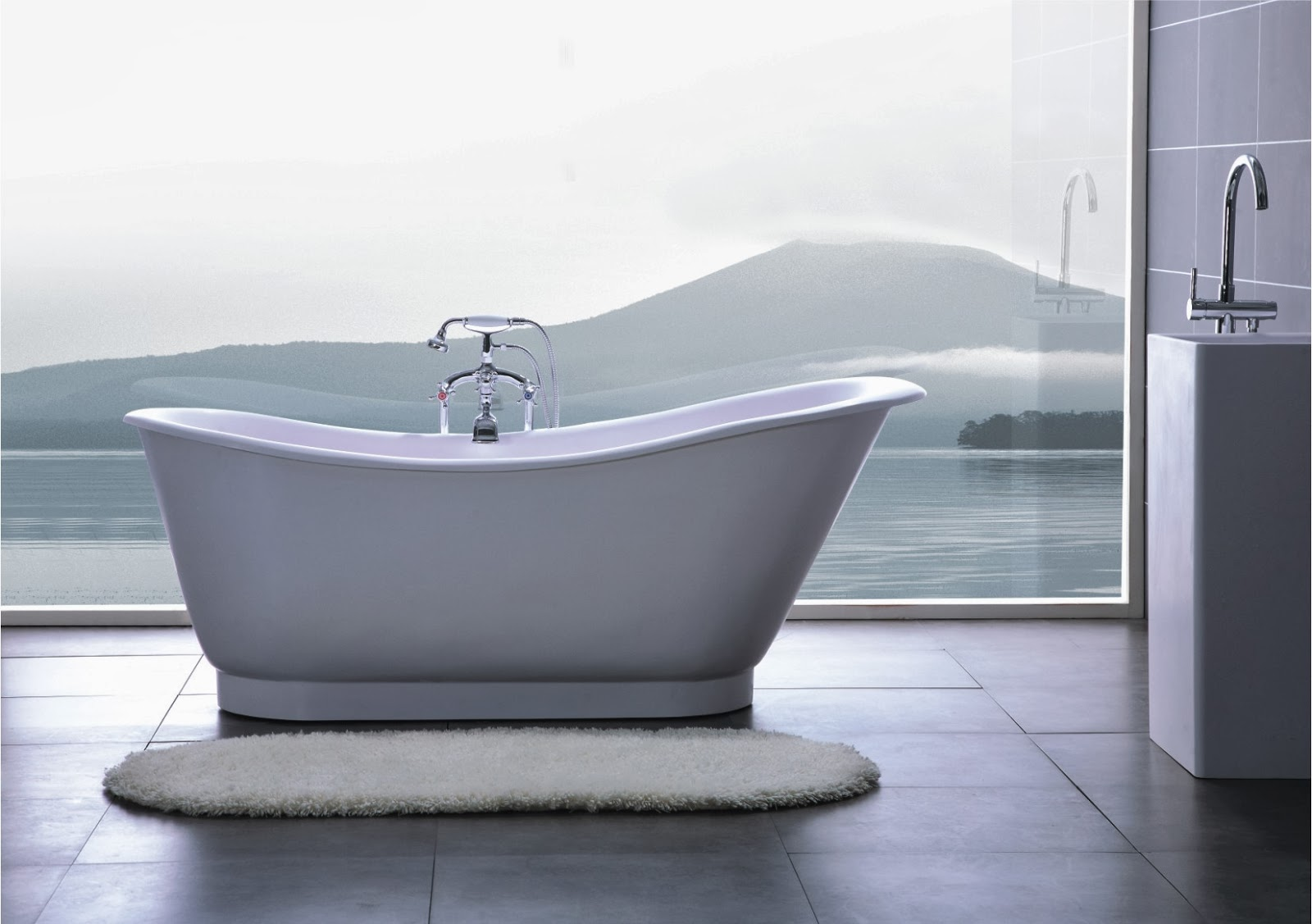Bathroom modern white luxury bathtub feats silky feels with satin matte lacquered and smooth rounded edges in open design bathroom with marvelous nature view modern and luxurious white bathtubs desig