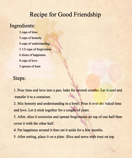 recipe for good relationship What felisa means: you are loving, compassionate, and ruled by your feelings you are able to be a foundation for other people but you still know how to.