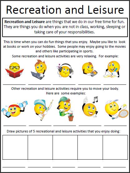 Leisure And Recreation Skills Worksheet on Impulse Worksheets For ...