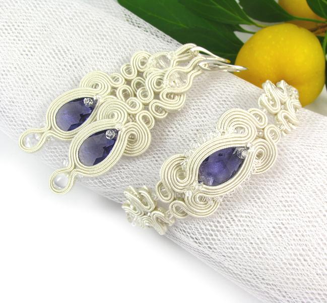 fioletowa biżuteria ślubna sutasz