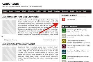 Widget Lencana Google+ di Blog Cara Ririn