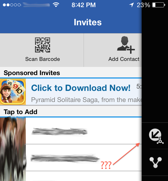 Mysterious BBM for iOS button in context