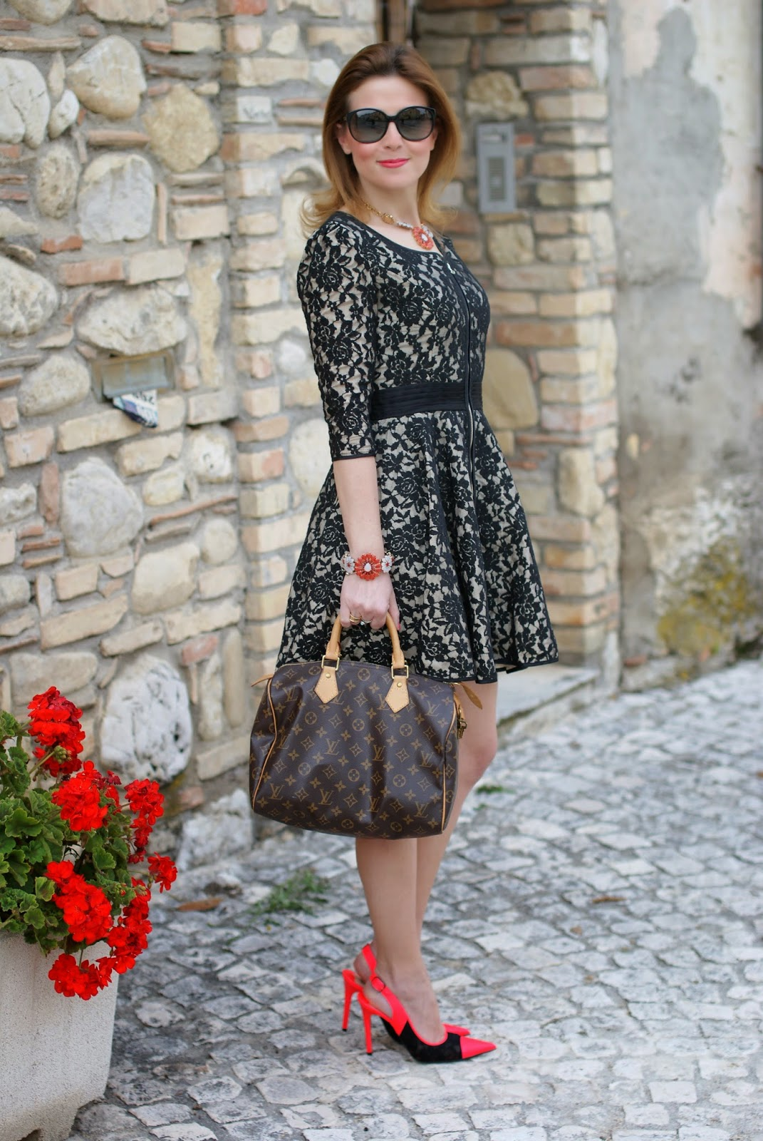Sodini bijoux, Louis Vuitton Speedy bag, Nando Muzi lace pumps, Fashion and Cookies, fashion blogger