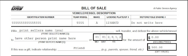 how to write a bill of sell for a vehicle