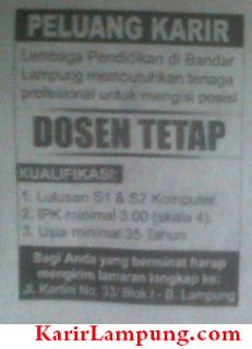 Lowongan Dosen Tetap Lembaga Pendidikan di Bandar Lampung