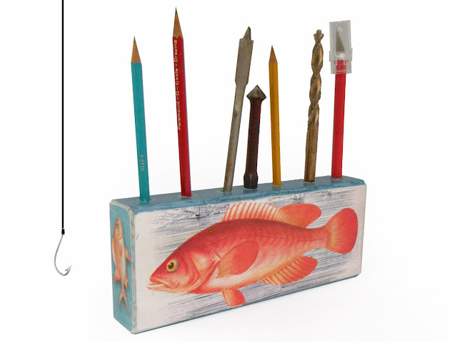 Catch of the Day - Pen Pencil Holder by Walter Silva