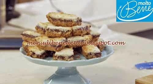 Barrette al cocco e cioccolato ricetta Parodi per Molto Bene su Real Time