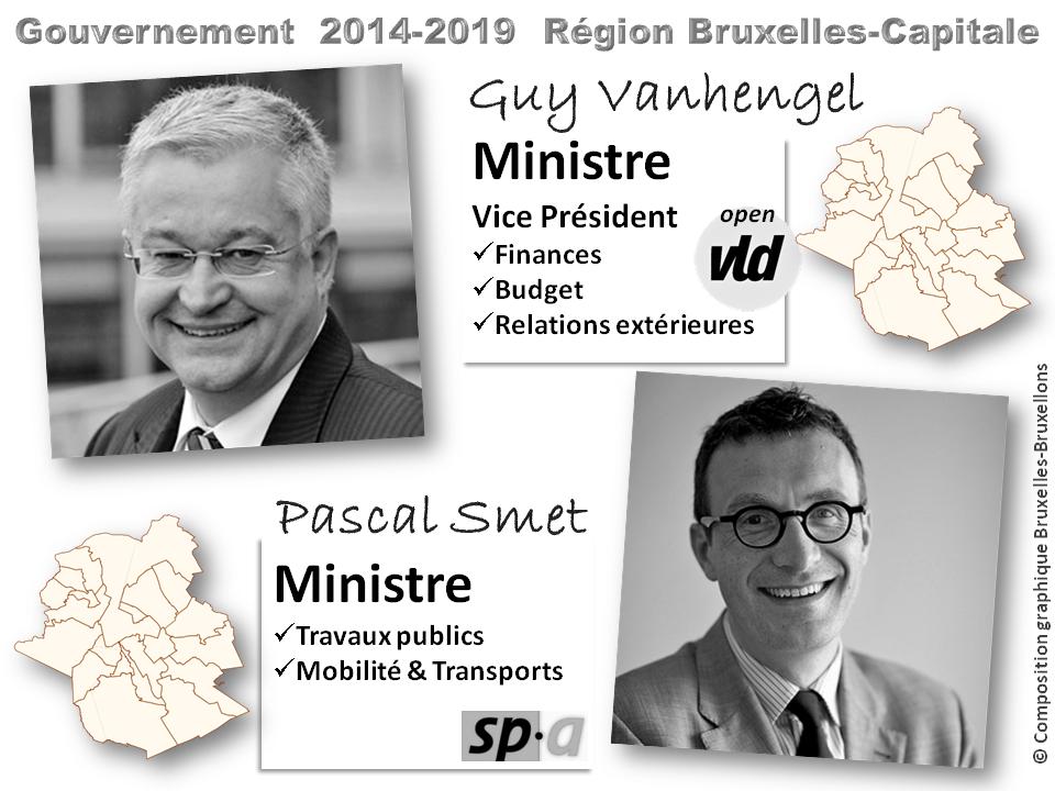 Gouvernement de la Région Bruxelles-Capitale - 2014-2019 - GUY VANHENGEL (OPEN VLD) Vice Président, Ministre des Finances et du Budget - PASCAL SMETS (SP.A), Ministre des Travaux publics, de la Mobilité et des Transports - Bruxelles-Bruxellons