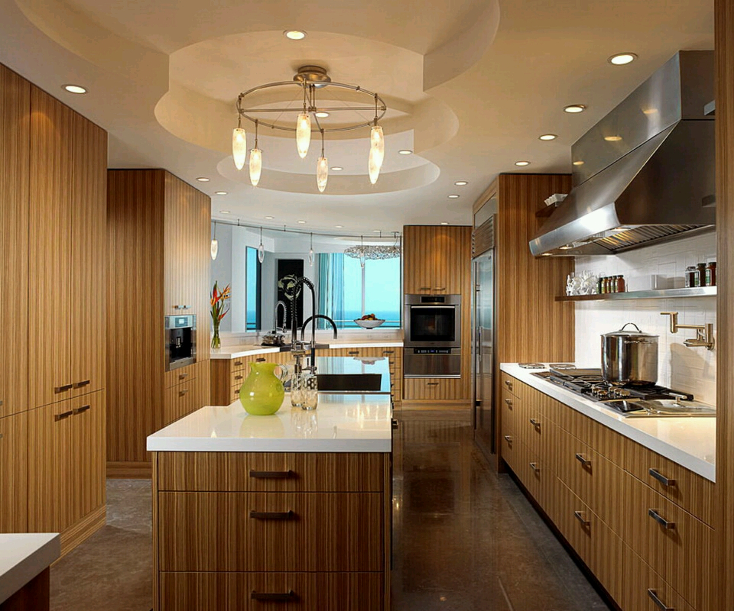 Modern wooden kitchen cabinets designs.