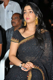 Charmi Kaur Pictures in Black Saree at Jyothilakshmi Trailer Launch    ~ Bollywood and South Indian Cinema Actress Exclusive Picture Galleries