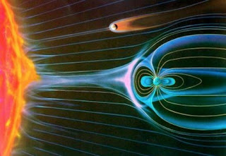 angin matahari menghasilkan medan magnetik di atmosfer bumi