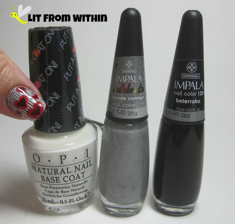 Bottle shot:  OPI Put A Coat On It, Impala Brinde Conmigo, and Impala Beterraba.