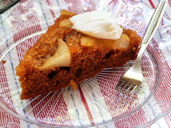 Golden pairs in caramel glaze cake
