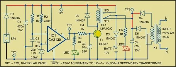 simple hybrid solar charger circuit diagram expert circuits rh expertcircuits blogspot com Solar Electric Installation Wiring Diagram Solar Panel Components Diagram