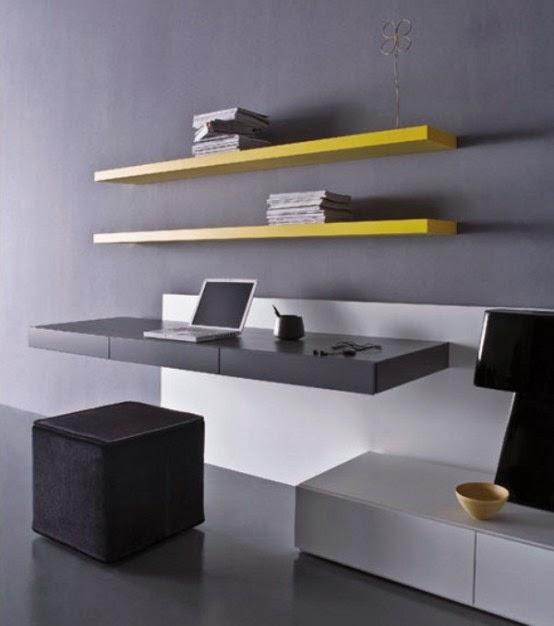Tempat kerja dengan furniture floating