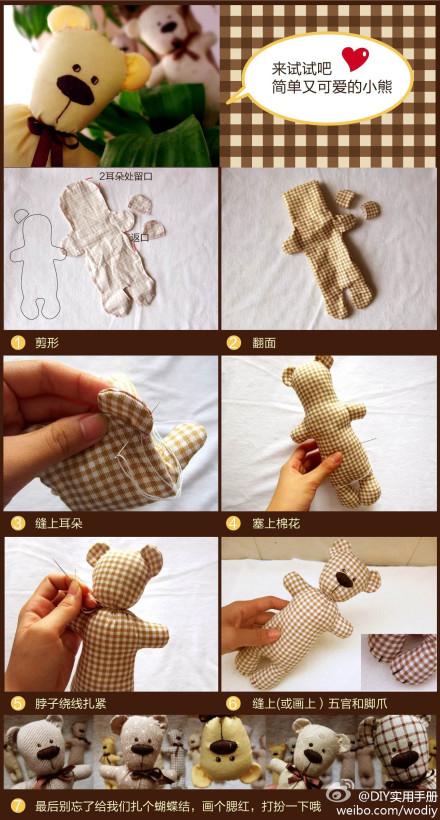 Ursinho de tecido passo a passo
