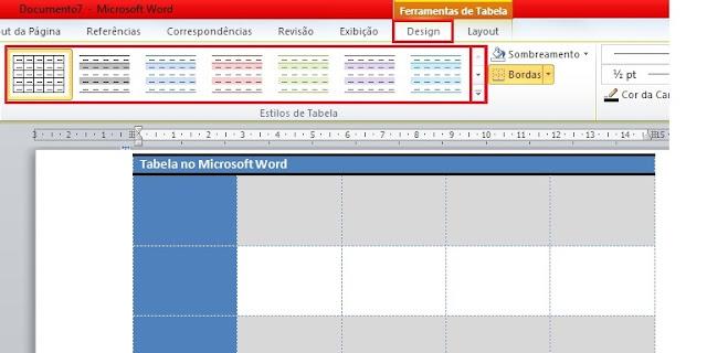 Mudando o estilo da tabela no word 2010