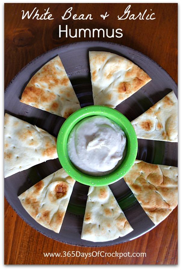 Recipe for Slow Cooker White Bean and Garlic Hummus #vegan #crockpot #meatless
