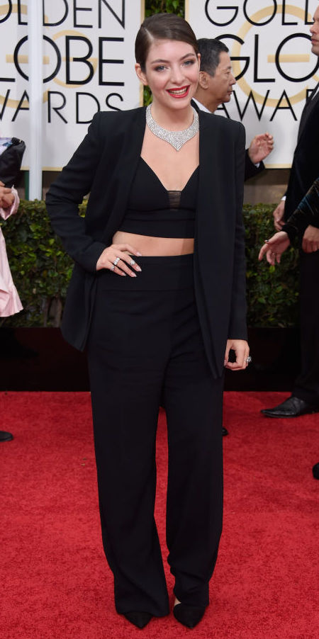 Lorde in a Narciso Rodriguez suit at the Golden Globes 2015