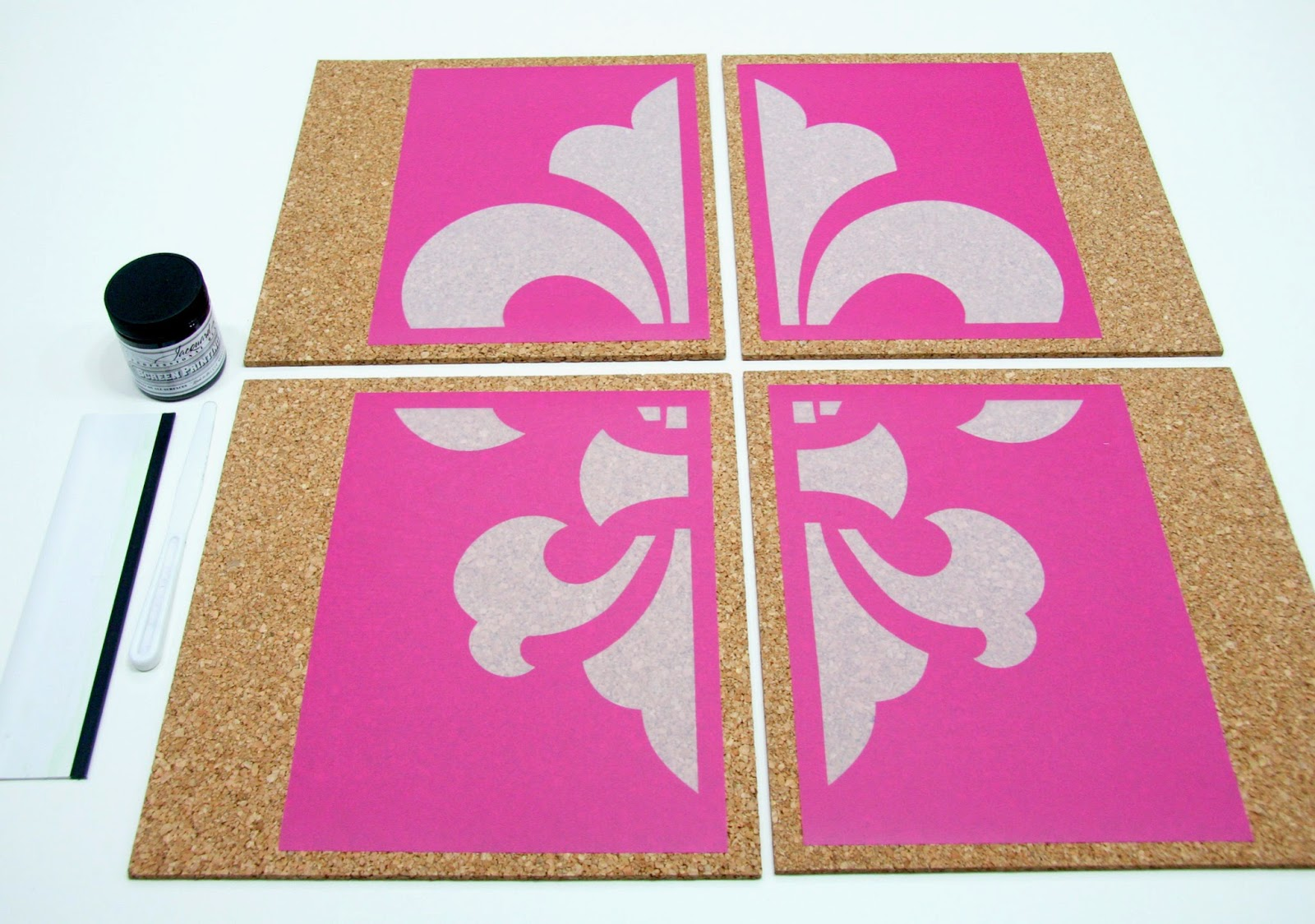 Fleur De Lis StencilPro Stencils and Cork Panels Laid Out on Table
