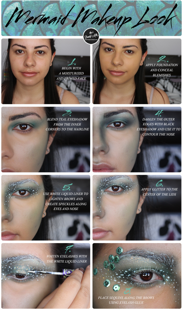 halloween mermaid makeup look tutorial green sequins neutrogena