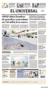 14/02/2020 PRIMERA PAGINA DEL UNIVERSAL DE VENEZUELA