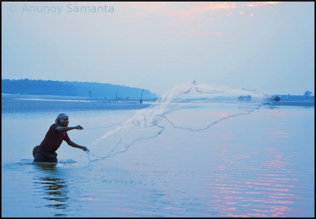 Fishermen at Udaipur Beach are done for the day
