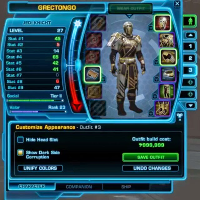 Star Wars: The Old Republic Update 3.2 Rise of the Emperor Outfit Designer
