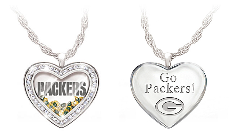 Green Bay Packers NFL Engraved Necklace with Floating Crystals