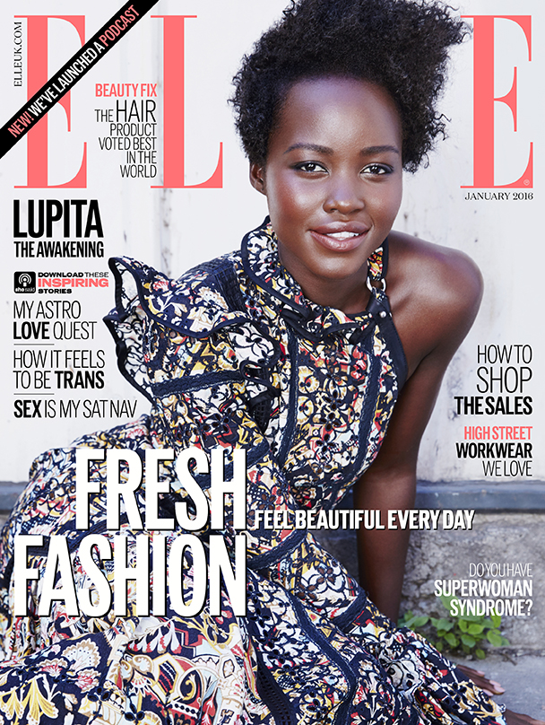 Lupita Nyong'o, Lupita Nyong'o hair,ELLE magazine, ELLE 2016 cover, twelve years a slave, star wars, Lupita Nyong'o in star wars, Sophie David-Mbamara, Sophie David, sophiestylish.blogspot.com, celebrities, Kim kardashian
