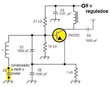 Oscilador Clapp para medidor de capacidad