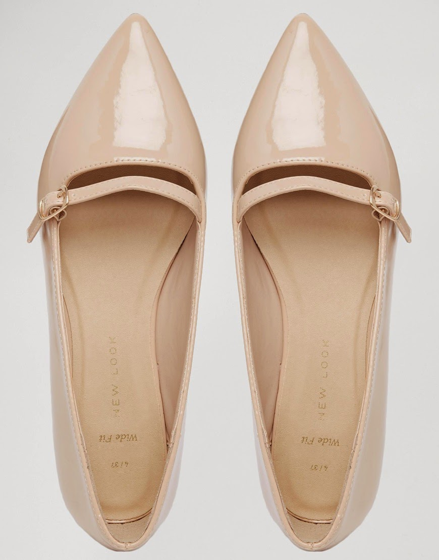 new look nude flats, new look pointed flats beige, beige pointed buckle flats,
