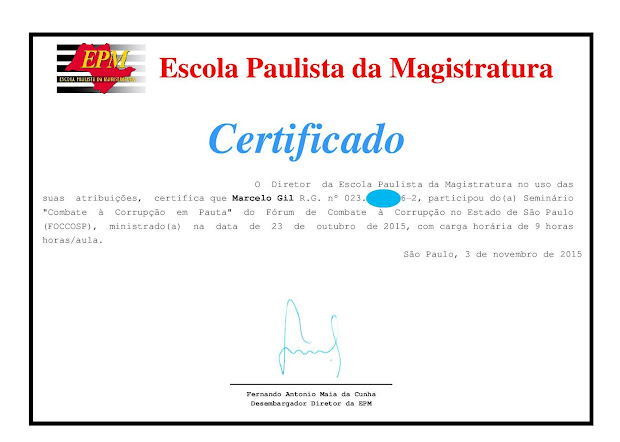 CERTIFICADO DE PARTICIPAÇÃO DO CICLO DE PALESTRAS DA ESCOLA PAULISTA DE MAGISTRATURA / 2015