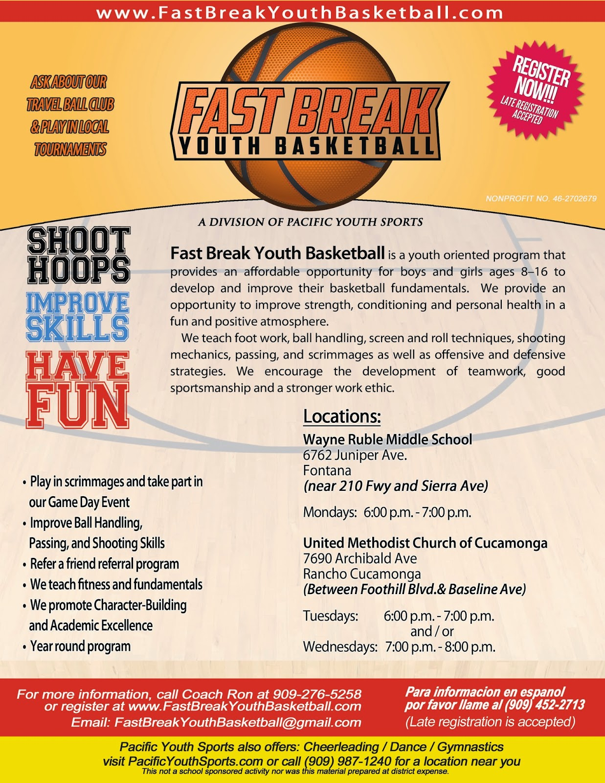 Fast break youth basketball fast break youth basketball is announcing spring session 2015 fandeluxe Image collections