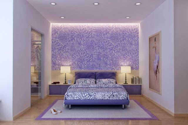 desain interior bernuansa ungu lebih gambar
