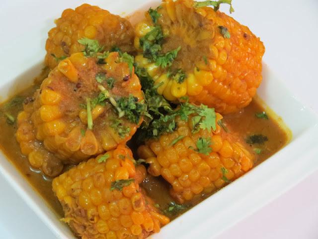 ... love: Indian Corn Gravy / Curry | Corn on the Cob Curry | Makai Curry