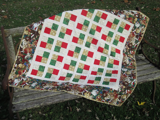 Christmas throw / handmade in red,green and gold